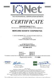 certificazione iso 9001-2015 mercurio spedizioni espresse campobasso
